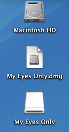 My Eyes Only.dmg and My Eyes Only opened on the Desktop.