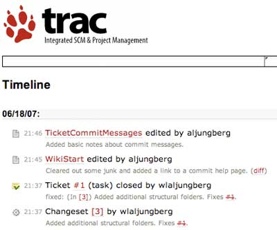 A Trac timeline showing commit messages and wiki edits.