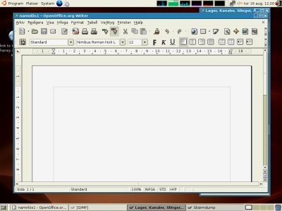 Screenshot of LTSP in Action Running Open Office in Swedish