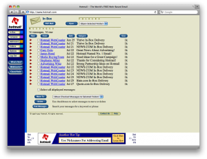 Old meets new: early version of Hotmail displayed in Safari 3